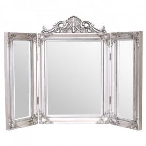 OGG109 - Oglinda tripla 74x55 cm, dreptunghiulara pentru masuta de toaleta - Rama Argintie