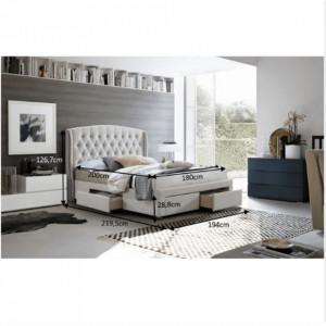 PAC601 - Pat tapitat pentru dormitor - 160/180 x200 - Crem