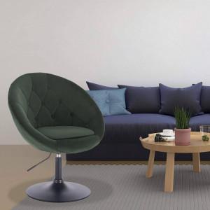 SCA227 - Scaun tapitat Verde inchis catifelat pentru masa toaleta, birou, bar, lounge, inaltime reglabila
