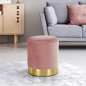 SCAU604 - Scaun tapitat, masa toaleta, taburet machiaj - Auriu-Roz