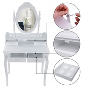 SEA107 - Set Masa alba toaleta cosmetica machiaj oglinda masuta