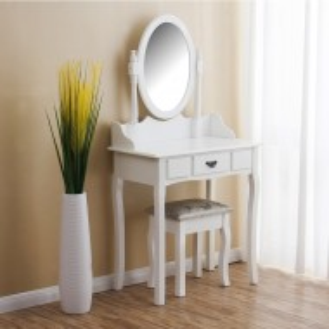 SEA148 - Set Masa alba toaleta cosmetica machiaj oglinda masuta vanity scaun taburet tapitat