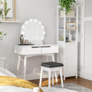SEA156 - Set Masa alba toaleta cosmetica machiaj oglinda masuta vanity, scaunel, taburet tapitat