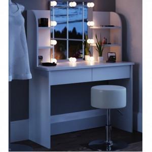 SEA251 - Set Masa alba toaleta cosmetica machiaj oglinda masuta vanity, oglinda cu LED si rafturi