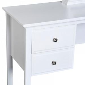 SEA261 - Set Masa toaleta, 100 cm, cosmetica machiaj, masuta, birou cu oglinda - Alba