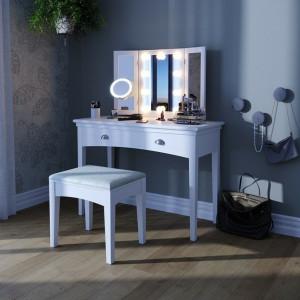 SEA271 - Set Masa toaleta, 109 cm, cosmetica machiaj cu scaun tapitat, cu oglinda make-up cu sau fara LED-uri, masuta vanity - Alba