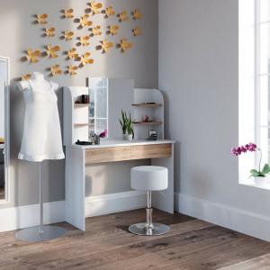SEA275 - Set Masa toaleta cosmetica machiaj oglinda masuta vanity, oglinda cu sau fara LED - Alb-Maro