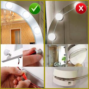 SEA278 - Set Masa alba toaleta, 80 cm, cosmetica machiaj oglinda cu LED, masuta vanity, scaunel, taburet tapitat