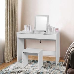 SEA280 - Set Masa alba toaleta, 100 cm, cosmetica machiaj oglinda pliabila masuta vanity, scaunel, taburet