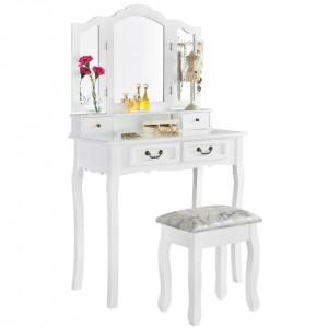 SEA321 - Set Masa alba toaleta cosmetica machiaj oglinda masuta vanity