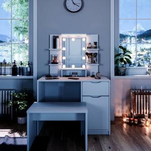 SEA345 - Set Masa alba toaleta moderna, 100 cm, cosmetica machiaj oglinda masuta vanity cu oglinda cu LED sau fara LED