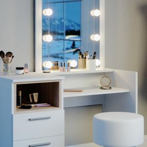 SEA361 - Set Masa toaleta, 100 cm, moderna cosmetica machiaj oglinda, masuta vanity cu sau fara LED- Alb