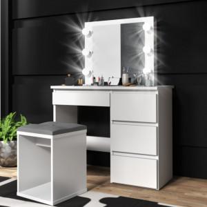 SEA512 - Set Masa toaleta cosmetica machiaj oglinda masuta vanity, oglinda cu LED-uri - Alb sau Maro