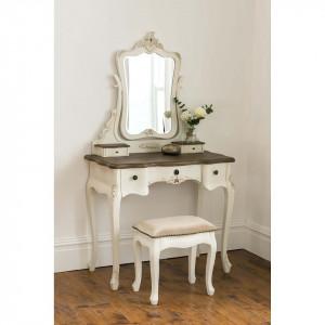SEC105 - Set Masa Crem / Ivory toaleta cosmetica machiaj oglinda masuta, scaun, taburet tapitat