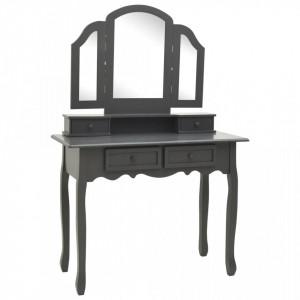 SEG1 - Set Masa toaleta, 100 cm, cosmetica machiaj cu oglinda si scaun, masuta vanity - Gri