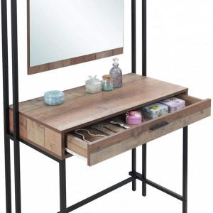 SEM109 - Set Masa toaleta cosmetica 83 cm machiaj masuta vanity, oglinda, masa make-up stil industrial - Maro
