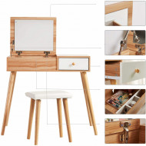 SEM110 - Set Masa toaleta cosmetica 80 cm machiaj masuta vanity, oglinda rabatabila, make-up, cosmetica, birou cu scaun tapitat- Maro