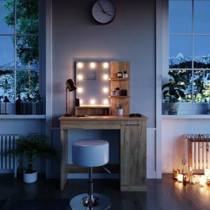 SEM218 - Set Masa toaleta, 90 cm, cosmetica machiaj oglinda cu sau fara LED, masuta vanity, cu sau fara scaunel - Maro