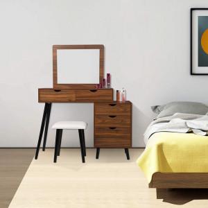 SEM225 - Set Masa toaleta, 80 cm, cosmetica machiaj oglinda cu sau fara LED, masuta vanity - Maro