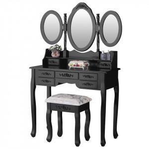 SEN120 - Set Masa neagra toaleta cu 7 sertare cosmetica machiaj oglinda masuta, scaunel taburet tapitat