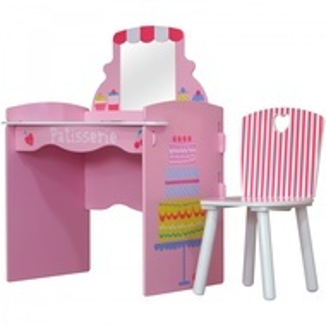 SERC102 - Set masuta, scaunel, oglinda - roz, MDF masa, vanity
