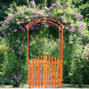 PEM3 - Pergola trandafiri cu portita lemn gradina, terasa - Maro