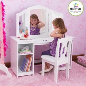 SEAC1 - Set masuta, scaunel, oglinda printese lemn alb Masa, vanity