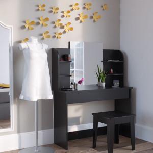 SEN218 - Set Masa neagra toaleta cosmetica machiaj oglinda masuta vanity cu oglinda si rafturi