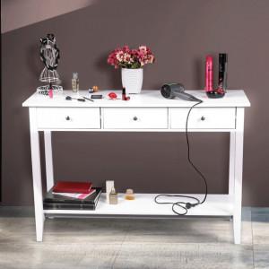 MAA603 - Masa toaleta, 120 cm, consola cosmetica machiaj masuta vanity make-up cu raft pentru hol - Alb