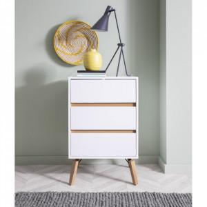 COA131 - Comoda alba, 51 cm, dulap cu 3 sertare pentru dormitor - Marsilia