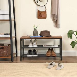 BAI202 - Banca industriala 80 cm, pentru Hol, pantofi, pantofar, bancuta depozitare - Maro