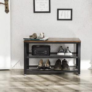 BAI204 - Banca industriala 73 cm, pentru Hol, pantofi, patofar, bancuta depozitare - Maro