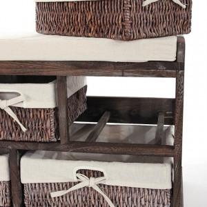 BAM207 - Bancheta, bancuta, hol, dormitor banca lemn vopsit 5 cosuri - Maro