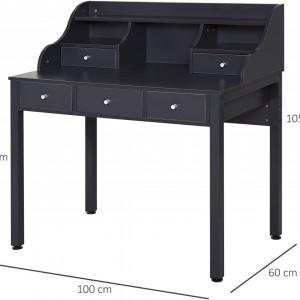 BIG201 - Masa de Birou, 100 cm, office cu 5 sertare - Gri inchis