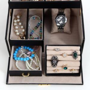 CJN211 - Cutie cutiuta bijuterii cu oglinda, imitatie piele - Negru