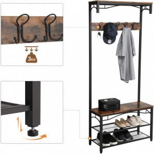 CUII205 - Cuier industrial 80 cm, 5 agatatori haine, chei, hol, rafturi pantofi, pantofar - Maro
