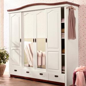 DUA117 - Dulap, sifonier cu 4 usi, bara umerase, rafturi, sertare si oglinda, dormitor - Alb