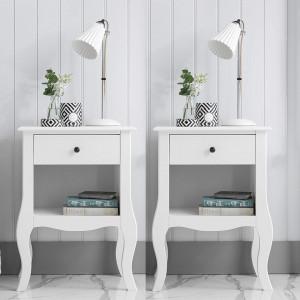 NOA128 - Set 2 Noptiere albe cu 1 sertar pentru dormitor