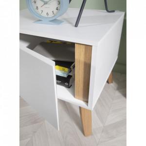 NOA129 - Set 2 Noptiere albe cu 1 dulap pentru dormitor - Marsilia