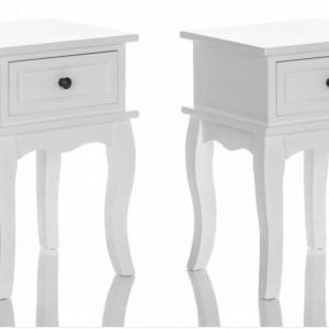 NOA504 - Set 2 Noptiere, 34 cm, cu 1 sertar pentru dormitor - Alb mat