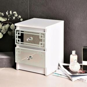 NOA506 - Noptiera albe oglinda 30 cm, cu 2 sertare, dormitor - Oglinda - Alb