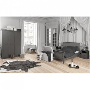 NOG601 - Set 2 Noptiere gri, 44 cm, cu 2 sertare pentru dormitor
