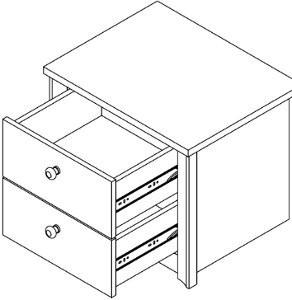 NOM501 - Set 2 Noptiere maro cu 2 sertare pentru dormitor