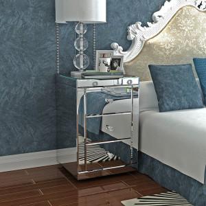 NOOG108 - Noptiera oglinda cu 3 sertare, dormitor - Argintiu