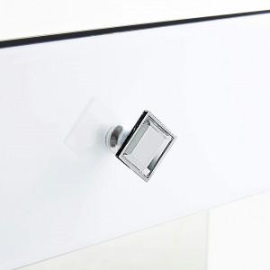 NOOG121 - Noptiera, dulap cu 1 sertar, dormitor - Oglinda - Argintiu si Alb