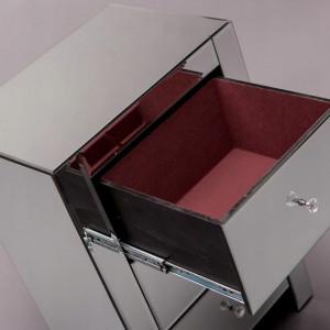 NOOG501 - Noptiera oglinda 48 cm, cu 3 sertare, dormitor - Oglinda - Argintiu
