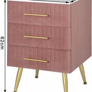 NOR201 - Set 2 Noptiere, 41 cm, cu 3 sertare pentru dormitor - Roz-Auriu