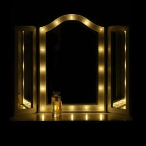 OGA113 - Oglinda tripla masuta de toaleta cu leduri dormitor - Alb