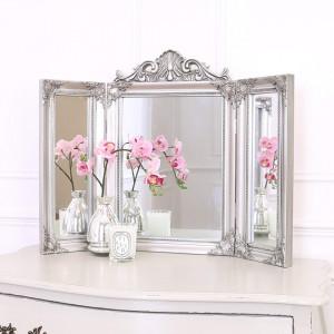 OGG109 - Oglinda tripla 74x55 cm, dreptunghiulara pentru masuta de toaleta - Rama Argintie/Aurie/Alba/Neagra