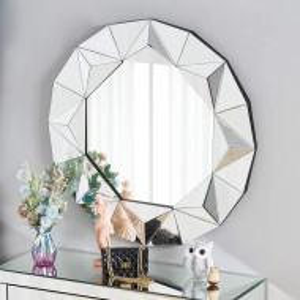 OGG114 - Oglinda 90 cm, pentru perete ornamentala dormitor, living, baie - Argintie 3D